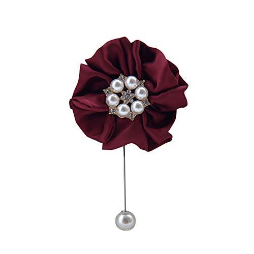 Dosige 1 Stück Hochzeit Seide Blumen Boutonniere Braut Corsage Ansteckblume Bräutigam Boutonniere Brosche Pin 10cm*5cm Weinrot