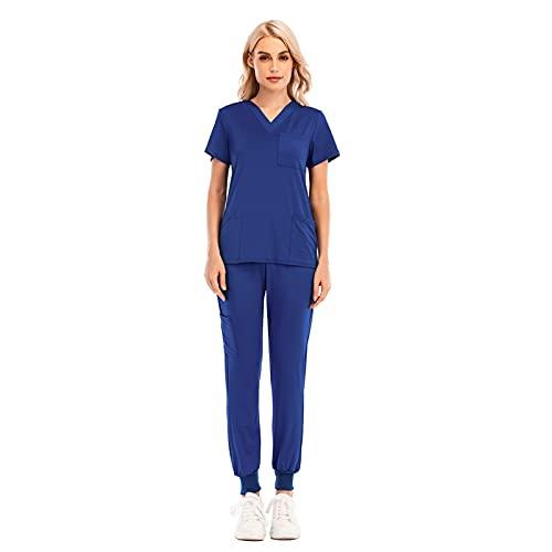 Pistaz Traje de tiempo libre para mujer con perneras elásticas con bolsillo y cuello en V, cintura alta azul Large