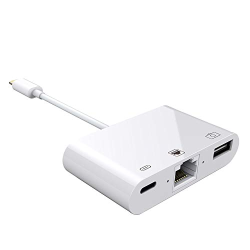 Hkitty Xiong 8 Pin to RJ45 Ethernet LAN Wired Network Adapter Compatible with iPhone iPad iPod Running iOS 13,Works with Mouses Keyboards Hubs U-Disks (White)