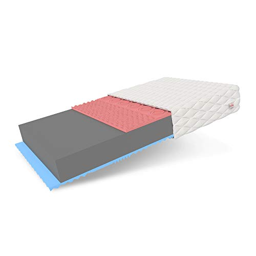 FDM Viterbo Colchón de espuma termoplástica y espuma de confort HR de alta elasticidad dureza H3 (dureza media), altura 14 cm, doble cara, funda extraíble lavable (180 x 200 cm)