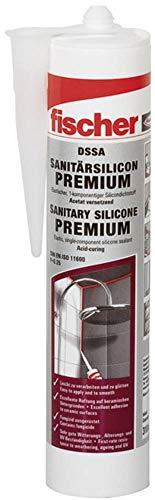 fischer DSSA DG - Premium Sanitärsilicon für Eck-, Bewegungs- und Anschlussfugen im Sanitär- und Küchenbereich, dauerelastisch, dunkel-grau, 310 ml - 1 Stück - Art.-Nr. 53105
