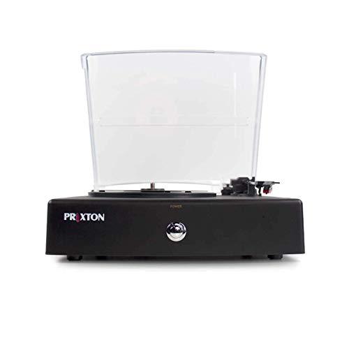 PRIXTON V100 - Tocadiscos de Vinilo Vintage, Reproductor Vinilo y Reproductor de Musica, Puerto USB, 2 Altavoces estéreo de 3W Incorporados, Color Negro con Tapa Protectora. (Reacondicionado)