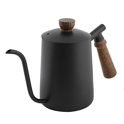 Tetera de café de acero inoxidable, tetera de goteo para verter, caño largo y estrecho, tetera de café con mango de madera, 600 ml