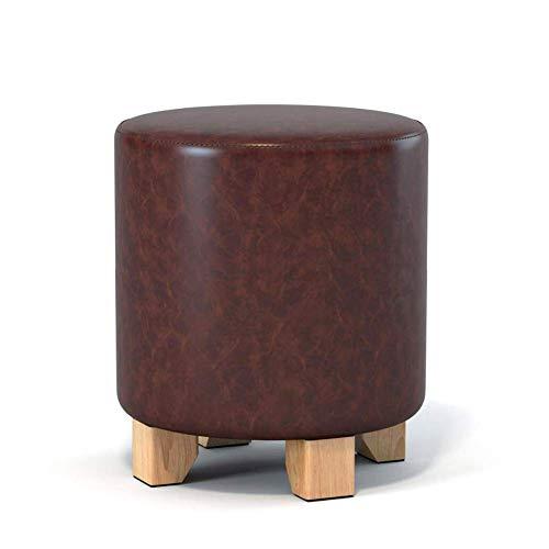 WANGXNStool salontafel van PU-leer, massief hout, hoge elasticiteit, schuim onder de tafel, rond, bruin, 29 x 35 cm