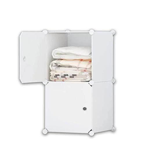 iBlockCube Cassettiera per Guardaroba Portatile Fai-da-Te con Asta Appendiabiti per Abiti, Armadio divisorio modulare per Risparmio di Spazio, Armadi Pieghevoli portaoggetti Ideale per Libri(2 cubo)