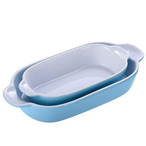 KVV Ceramic Baking Dish Bakeware Set of 2 Piece Small Retangle Plate,Pans for Cooking, Kitchen,Mini Size 9 Inches (Blue set of 2)