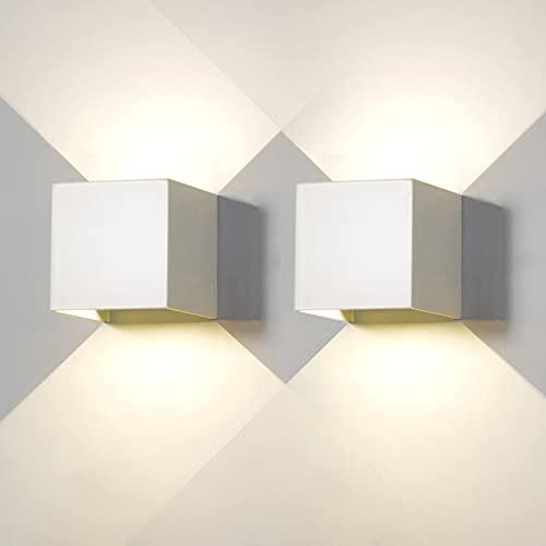 2 Pezzi Applique da Parete Esterno LED Lampada da Parete Interno Moderno Bianco 6W 4000K Luce Naturale IP65 Impermeabile Lampade Muro Quadrata Alluminio su e Giù Regolabile Design Facile da Installare