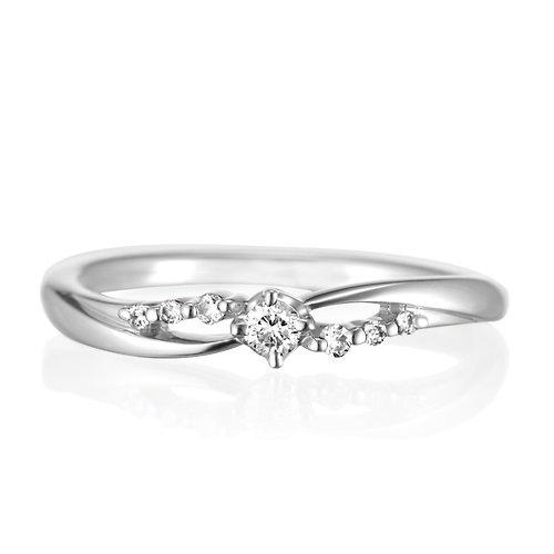 4℃ (ヨンドシ-) ダイヤモンド K10ホワイトゴールド(WG)リング 日本サイズ12号 111246143211