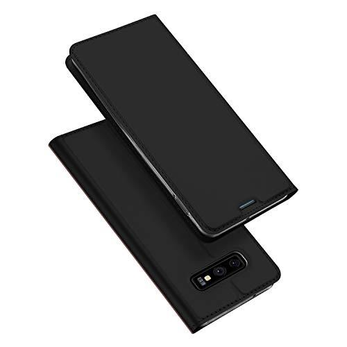 DUX DUCIS Hülle für Samsung Galaxy S10E, Leder Klappbar Handyhülle Schutzhülle Tasche Hülle mit [Kartenfach] [Standfunktion] [Magnetisch] für Samsung Galaxy S10E (Schwarz)