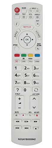 ALLIMITY N2QAYB000842 Fernbedienung Ersetzt für Panasonic 3D Smart TV TX-L42DT60E TX-LR42DT60 TX-L55WT60T TX-L42DTW60 TX-L47WT60T TX-LR55DT60 TX-LR55WT60 TX-LR60DT60 TX-LR65WT600