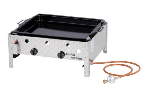 Activa 2-flammiger Gastrobräter mit emaillierter Pfanne, Silber