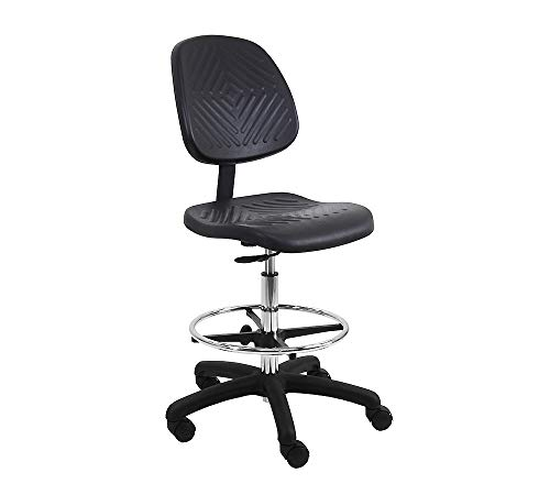"""BenchPro Deluxe Firm Polyurethane Foam Chair with 18"""" Adjustable Footring, Nylon Base, 17"""
