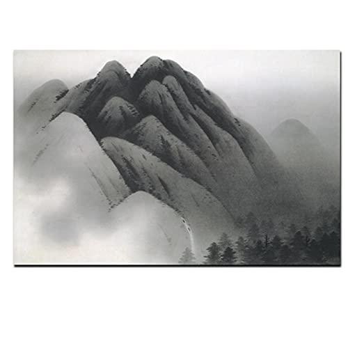 Lefgnmyi Montaña caligrafía china tradicional lienzo pintura abstracta sobre lienzo cuadro de pared para sala de estar sofá decoración del hogar-24x32 en sin marco