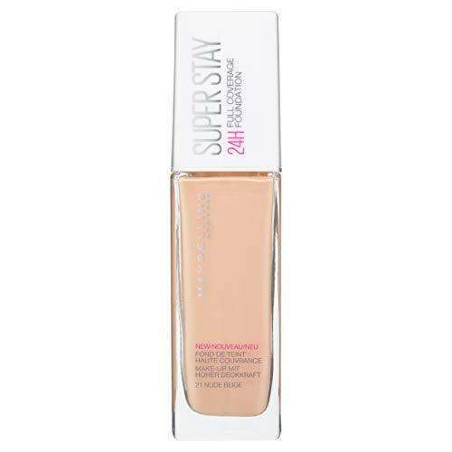 Maybelline New York Superstay 24h, Base de Maquillaje Semi Mate de Alta Cobertura, Tono 21 Nude