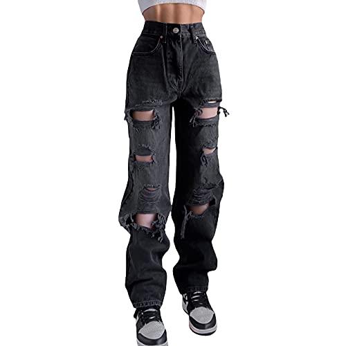 Alaurbeauty Y2K - Pantalones vaqueros desgarrados para mujer, estilo boyfriend con pernera ancha, estilo informal de los años 90, A-negro., M