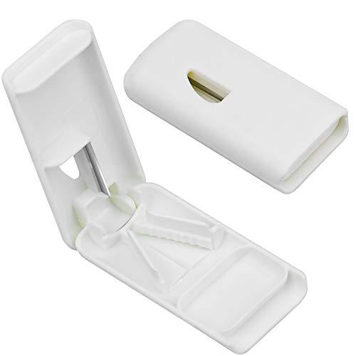 Demason Tablettenteiler für Große/Kleine Tabletten, Tragbarer Tablettenschneider mit Klinge, Verstellbarer Pillenschneider mit Aufbewahrungsfach Medikamententeiler für Pillen (Weiß)