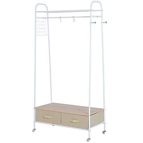 HOMCOM Entrance Coat Rack Rail Clothes Stand Garment Storage Hanger Shelf Organiser 2 Drawers