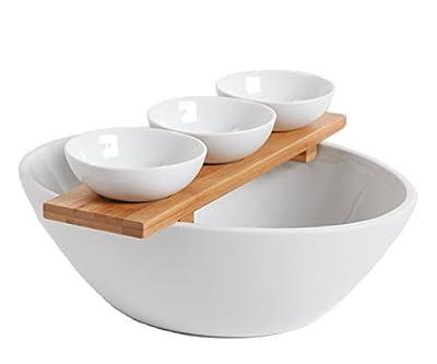Gibson 3 Piece Gracious Dining Tidbit Serving Dish Set, White