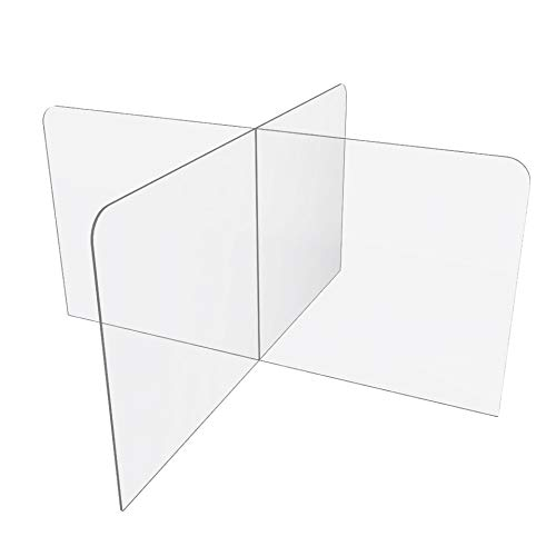 Sneeze Guard for Counter or Table (48'W x 24' x 48'D), Freestanding Plexiglass Shield Table Divider, Clear Acrylic Plastic Barrier for Countertop, Desk, Restaurant, School Classroom [Made in USA]