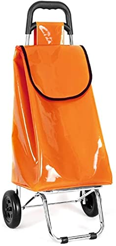 PFTHDE Carrito de Compras Carrito de Empuje Plegable de Acero sintético con Bolsa Impermeable de Gran Capacidad Tienda de comestibles Remolque pequeño Coche de Equipaje Naranja