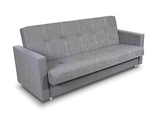 Schlafsofa Bettsofa Dave - Sofa mit Schlaffunktion und Bettkasten, Bett, Farbauswahl, Schlafcouch, Couch vom Hersteller, Couchgarnitur (Grau (Suedine 06))
