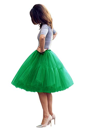 Classic Women's 5 Layers A line Tulle Prom Party Tutu Skirt(Green,One Size)