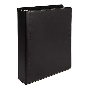 Samsill 1.5  Contrast Stitch Leather 3 Ring Binder Portfolio Organizer 3 Ring Binder  8.5 x 11  Black