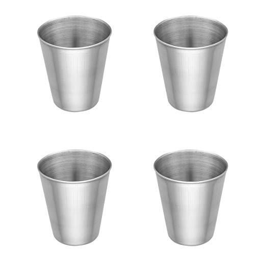 iiniim 2/4er Set Edelstahl Becher Tasse Schnaps Becher Kleinkinder Trink Gläser Tassen 50ml/180ml/320ml/500ml Silber A 4x50ml