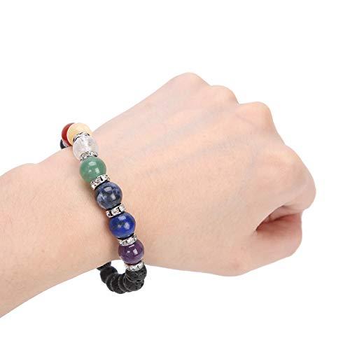 Pulsera de piedra de energía volcánica natural, exquisita pulsera de cuentas de yoga de cristal para hombres, pulseras curativas de Reiki con cuentas elásticas