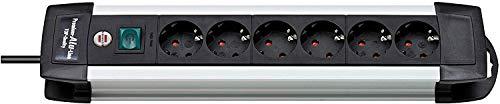 Brennenstuhl Premium-Alu-Line, Steckdosenleiste 6-fach / Steckerleiste aus hochwertigem Aluminium (Mehrfachsteckdose mit Schalter und 3m Kabel, Made in Germany) silber/schwarz