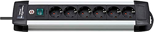 Brennenstuhl Premium Aluminium Line, 6-voudige stekkerdoos van hoogwaardig aluminium (met schakelaar en 3 m kabel) kleur: zwart Single 6-fach zwart