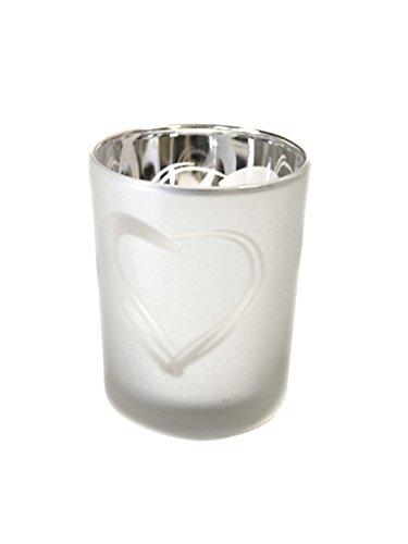 2 Stück Teelichtglas silber satiniert mit Herz