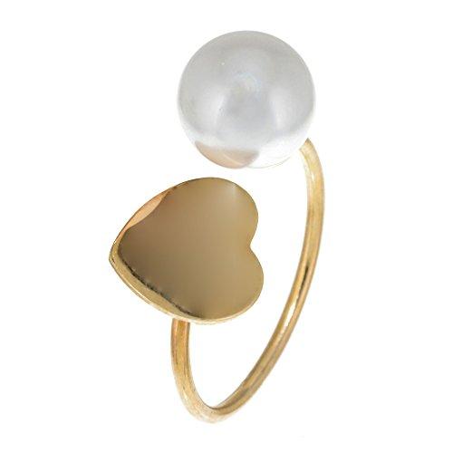 Córdoba Jewels   Sortija en Plata de Ley 925 bañada en Oro con diseño Corazón Perla Oro