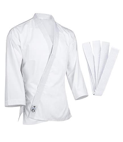 FitsT4 Karate Gi Jacket Lightweight 7.5oz White Karate Martial Arts Top Only for Adult & Children Size 4