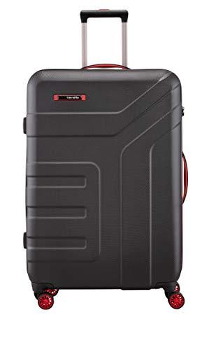 travelite 4-Rad Koffer Größe L mit TSA Schloss, Gepäck Serie VECTOR: Robuster Hartschalen Trolley in stylischen Farben, 072049-01, 77 cm, 103 Liter, schwarz/rot