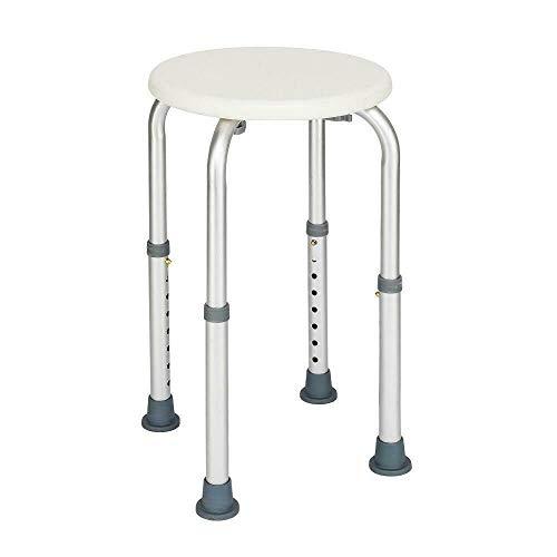YST - Taburete de ducha (altura regulable, giratorio 360°, asiento de ducha de aluminio y plastico para personas mayores, embarazadas y duchas)