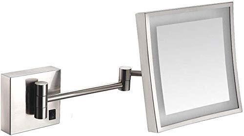 GJX Espejo Maquillaje Cuarto de baño de Afeitar Espejo montado en la Pared, la Carga del USB con Luces LED y 3 aumentos Solos Laterales de la Plaza Espejo de baño Extensible (Color : #1)