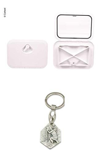 Zisa-Kombi Revisionsklappe mit Verriegelung weiß, 2 Verschlussriegel 606x353mm (93298830006) mit Anhänger Hlg. Christophorus