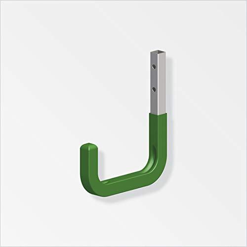 8 Stück OrgaTech Wandhaken 300 x 250 mm grün bis 30 Kg Tragkraft mit Gummierung Allzweckhaken Gerätehalter