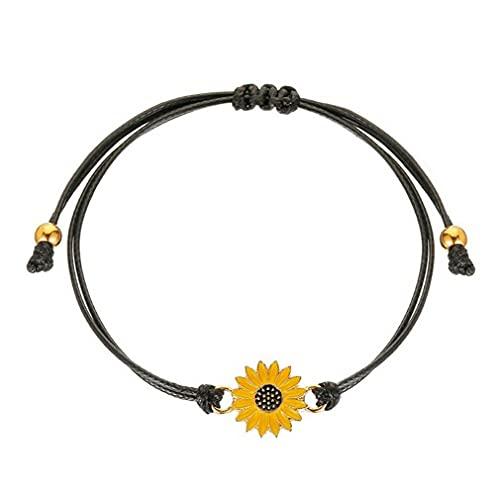 # 2944 Pulsera De Girasol Simple Y Fresca Pulsera De Tela Ajustable Negro + Amarillo