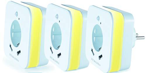 InnTec LED-Nachtlicht mit Bewegungsmelder und Steckdose, 2x USB 2.4A, weiß, automatischer Lichtsensor, GS (geprüfte Sicherheit) (3 Stück)