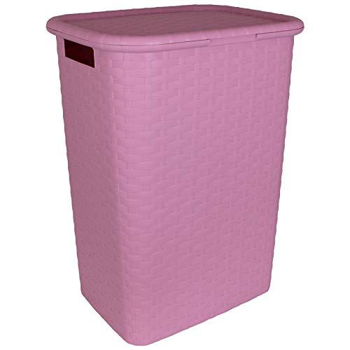 TW24 Wäschekorb mit Deckel Rattan-Optik 60L mit Farbwahl Wäschetruhe Wäschebox Wäschesammler Wäschekiste (rosa)