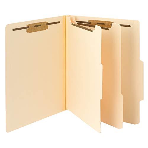 "Smead Classification File Folder, 2 Dividers, 2"" Expansion, 2/5-Cut Tab, Letter Size, Manila, 10 per Box (14000)"