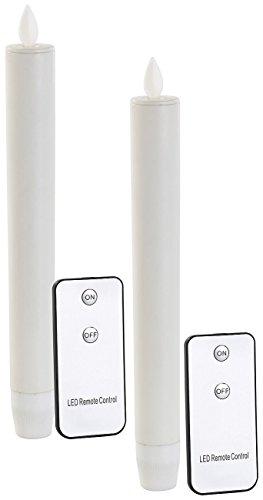 Preisvergleich Produktbild Britesta LED Tafelkerzen: LED-Stabkerze mit beweglicher Flamme und Fernbedienung,  weiß,  2er-Set (Stab Kerze)