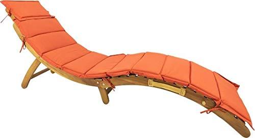 MaxxGarden Chaise Longue Pliante - Bain de Soleil - Bois d'acacia - avec Coussin Rouge 176x50x64 cm
