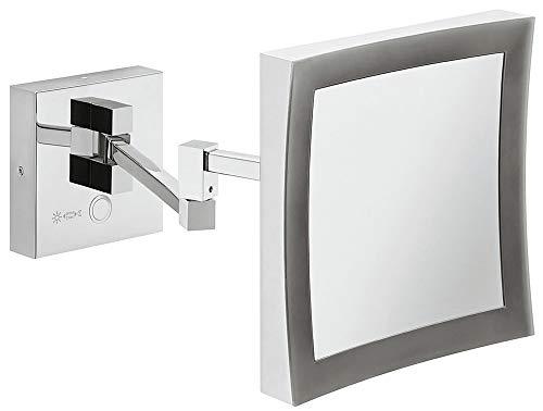 Gedotec badkamerspiegel LED-verlichting cosmeticaspiegel chroom gepolijst | badlamp incl. 5-voudige vergroting, perfect voor het opmaken | H1050 | 1 stuk - badkamerspiegel met lamp voor wandmontage