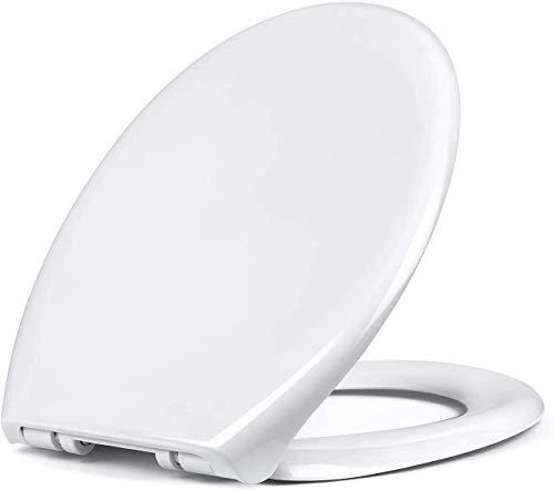 Amzdeal Tapa de wc, Tapa de inodoro con cierre suave y lenta, Asiento de inodoro de PP de alta calidad, Tapa de asiento de wc con sencilla instalación, Tapas de wc en forma de O,blanco