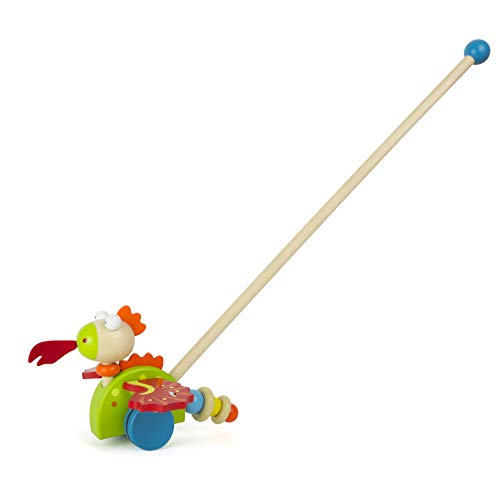 Small Foot 11043 Schiebespielzeug Drache Merlin aus Holz, FSC 100%-Zertifiziert Spielzeug, Mehrfarbig