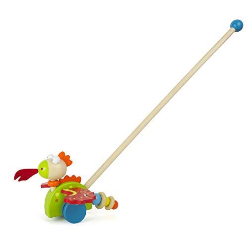 Small Foot- Dragon à Pousser Merlin en Bois, certifié 100% FSC, Anime Les Enfants à Marcher et stimule Ainsi la motricité Jouets, 11043, Multicolore