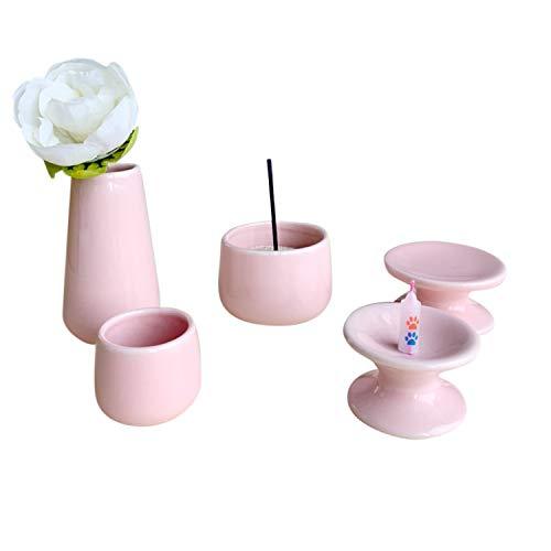 ペット仏具セット 5点 日本製 陶器 パステル 香炉灰付 国産 ミニ仏具 (ピンク)